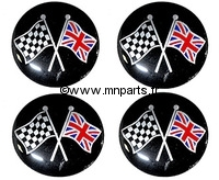Badges autocollants 'drapeau et damier'42 mm. Austin Mini.