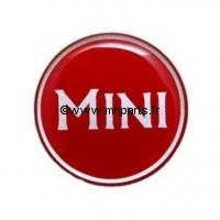 Badge autocollant 'MINI' rouge 42 mm. Austin Mini.