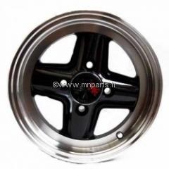 Jante 5''X12'' Revolution Noire, bord poli (sans écrous). Austin Mini