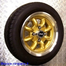 Pack 4 jantes et pneus 5'' par 12'' gold SUPERLIGHT gros déport Austin Mini