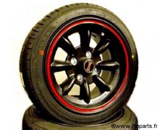 Pack 4 jantes/ pneus 6''13'' Ultralite noir et rouge Austin Mini