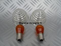 Paire de cabochons de clignotants avants blancs mk1/2/3 Austin Mini