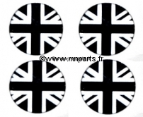 Badges autocollants 'Union Jack noir et blanc' 42 mm. Austin Mini.