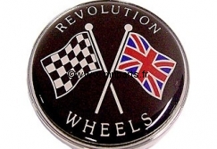 Badge autocollant 'Revolution Wheels' 42 mm. Austin Mini.