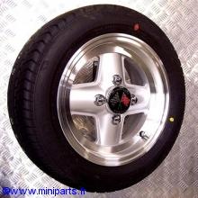 Pack 4 jantes & pneus 5x12'' Revolution silver, gros déport Austin Mini