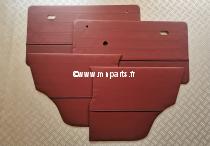 Kit de panneaux de porte bordeaux/ passepoil gris. Austin Mini