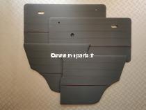 Kit de panneaux de porte gris foncé  / passepoil bordeaux. Austin Mini